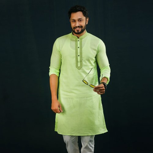 Men's Semi Long Panjabi - 02 - Forest Green