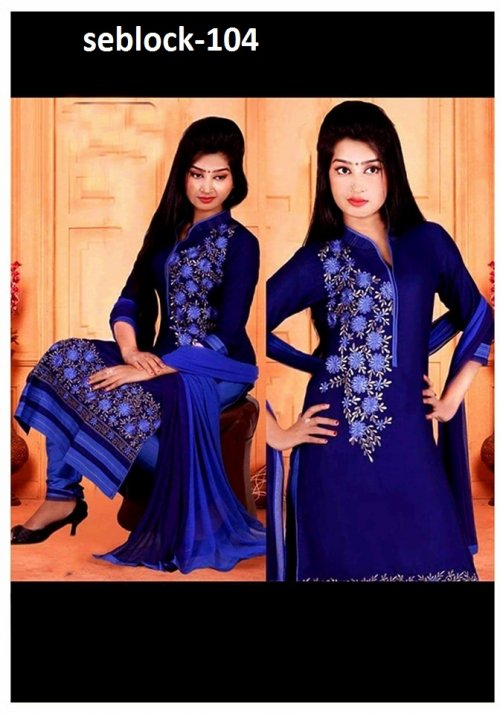 Unstitched Cotton Block Printed Salowar Kameez seblock-104