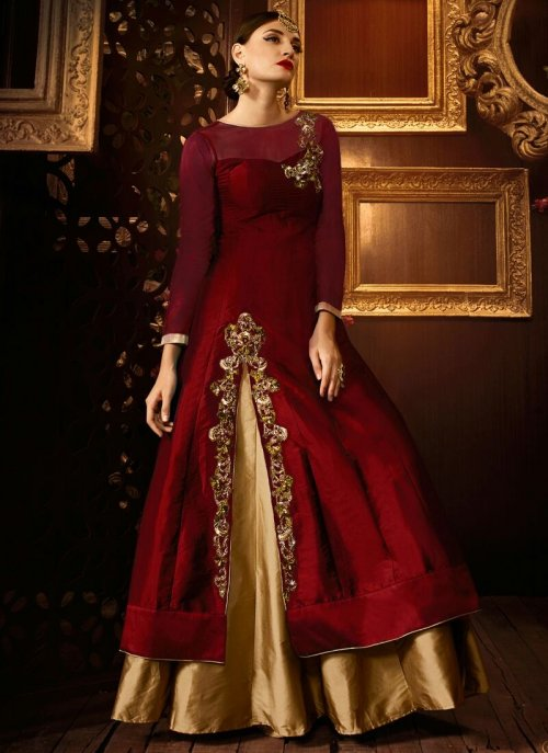 RED AND GOLD VELLORA PREMIUM SILK EMBROIDERED READY MADE LEHENGA