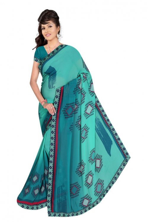 Indian Paste And Sea Green Silk Printed saree For women