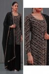 Georgette Embroidery Sharara Suit In Black Colour
