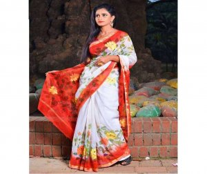 colorfull hand printed cotton saree