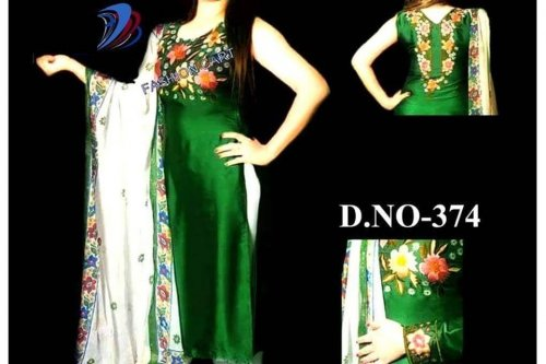 Un-stitched green georgette salwar kameez d.no-374