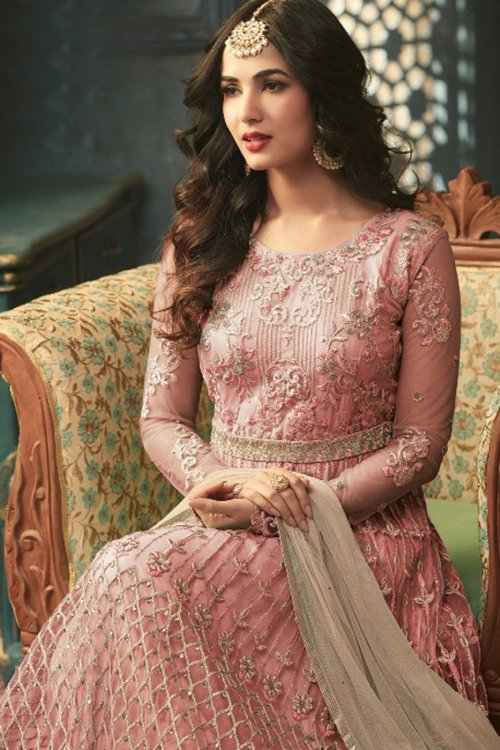Sonal Chauhan Pink Embroidered Net Designer Anarkali Salwar Suit for woman
