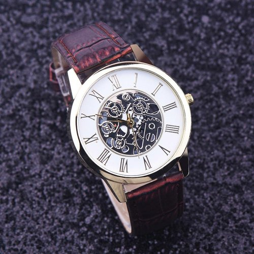 Fashion Luxury Leather Hollow Dial Analog Rome Digital Quartz Wrist Watch