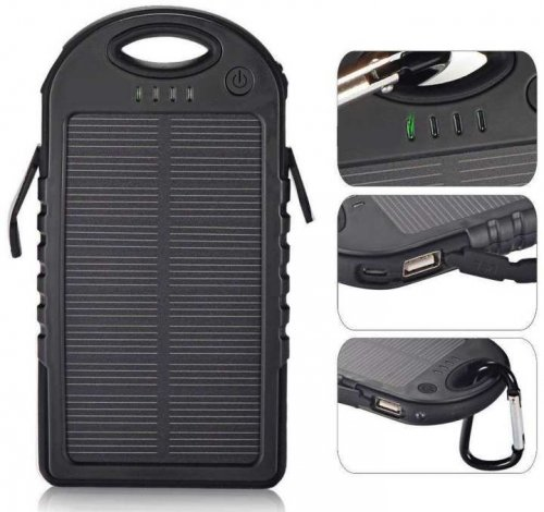 Solar Power Bank 10000mAh for Mobile - Black