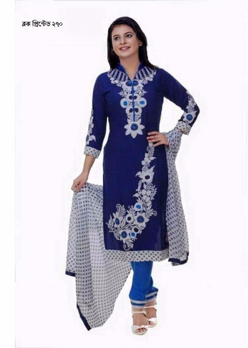 unstiched block printed cotton replica three pcs salwar kameez seblock-270