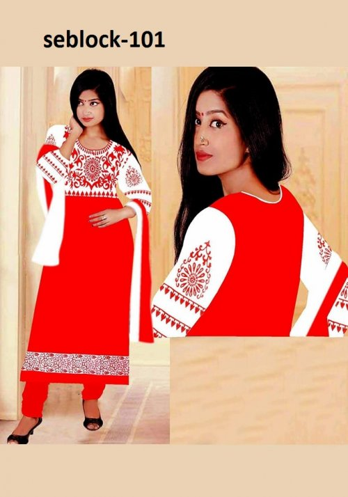Unstitched Cotton Block Printed Salowar Kameez seblock-101