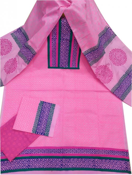 Latest Pink Block Printed Salwar Kameez For Women-free size