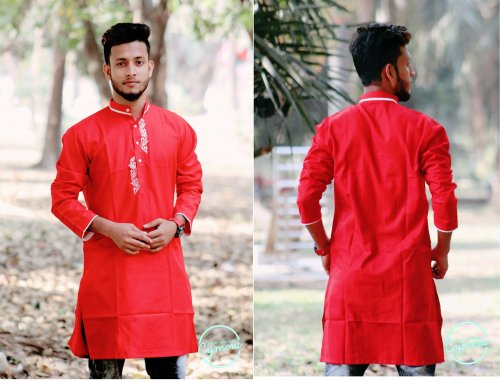 Red Cotton Casual Long Panjabi for Men