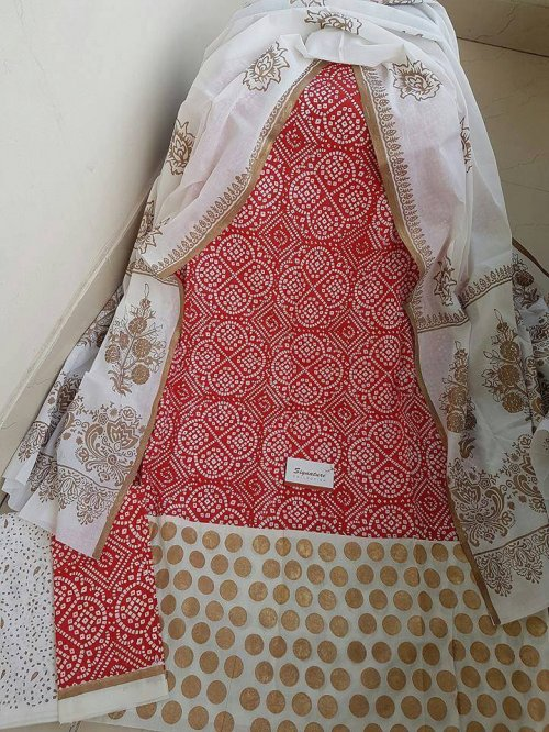 unstiched block printed cotton replica three pcs salwar kameez seblock-545