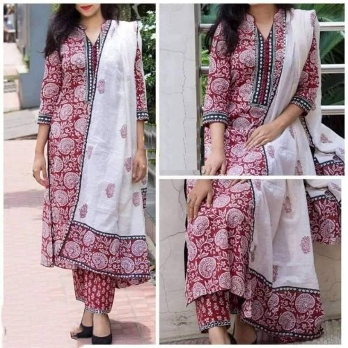 Latest White And Marron Block Printed Salwar Kameez for Women-free size
