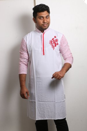 white and red Cotton Casual Long Panjabi for Men mfz-109