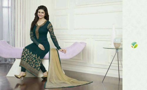 Green unstiched Three Piece KA 002 soft georgette salwar kameez