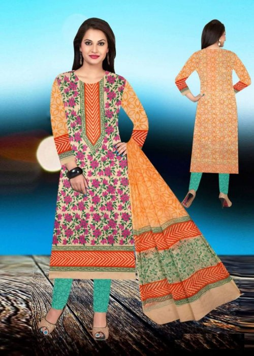 Unstiched block printed cotton replica salwar kameez seblock-627