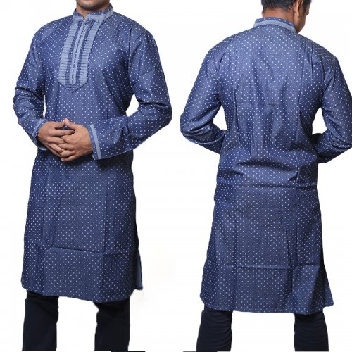 Cotton Semi Long blue zodiac Panjabi for men