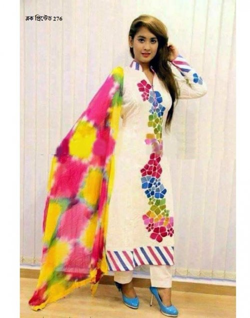 unstiched block printed cotton replica three pcs salwar kameez seblock-276