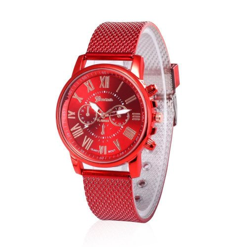 Geneva Woman's Watches ,Fashion PU Leather Watch Casual Stainless Steel Wrist Watch