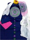 Latest Navy Blue and White Block Printed Salwar Kameez for Women-free size