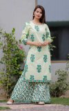 Latest white and Paste Block Printed 2 Piece Salwar Kameez for Women-free size