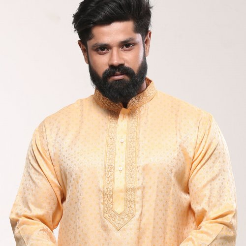 Men's Cotton Punjabi - Yellow Embroidery