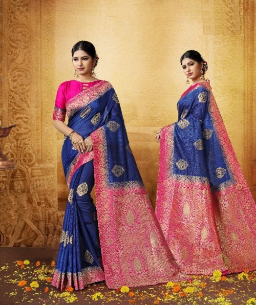 Blue,Pink and Golden Embroidery Work Katan Saree For Women