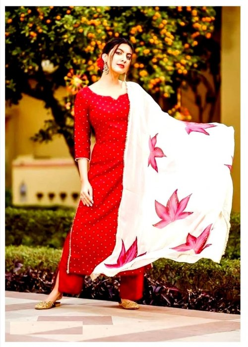 unstitched Skin printed cotton salwar kameez For women