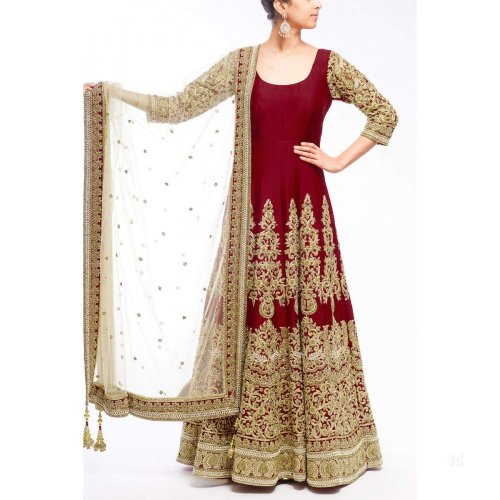 Maroon Party Wear Georgette Designer Embroidery Long Salwar Suit