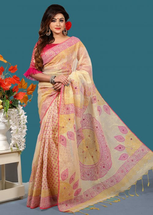 Tissue Silk Special Butics Saree for Woman bois-308