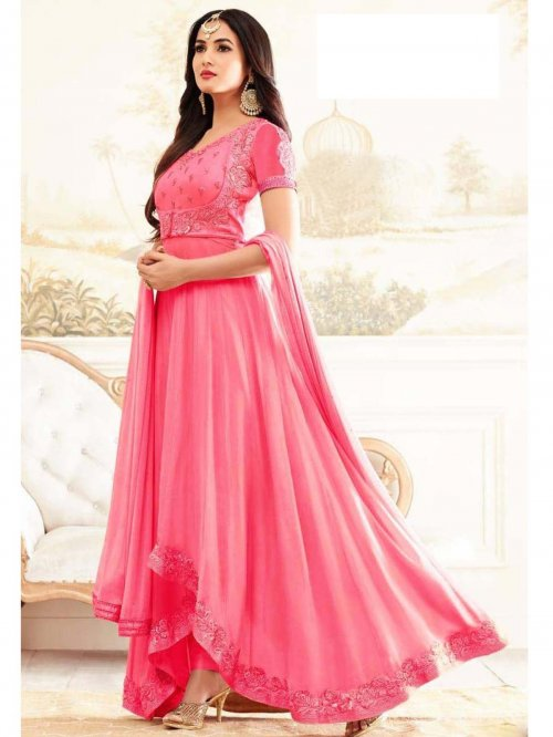 un-stitched pink georgette gown style salwar kameez sonal-1908
