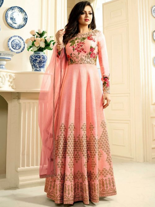 Drashti Dhami Peach Silk Long Anarkali Suit Gown 242D