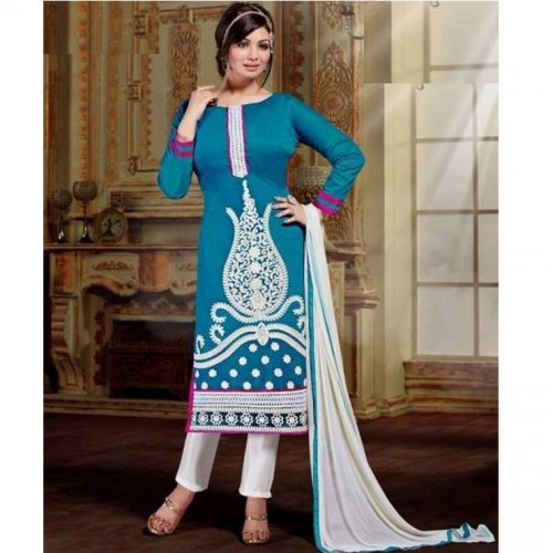 Unstitched Cotton Block Printed Salowar Kameez seblock-332