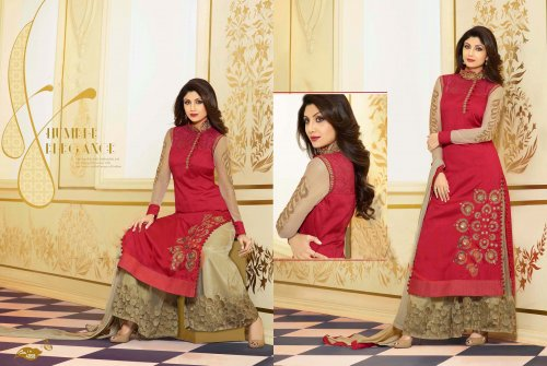 Maroon embroidery worked Palazzo salwar suit