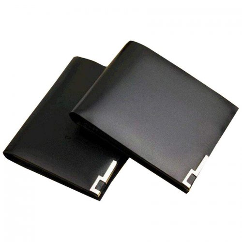 Puladou Men's Black Leather Wallet