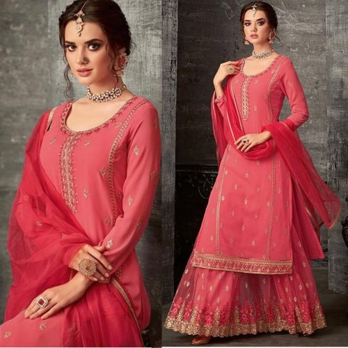 BRIGHT PINK GEORGETTE EMBROIDERED PALAZZO STYLE SUIT