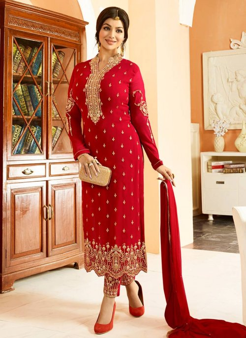 Red Color Georgette embroidery salwar kameez