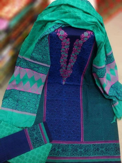 unstiched block printed cotton replica three pcs salwar kameez seblock-542