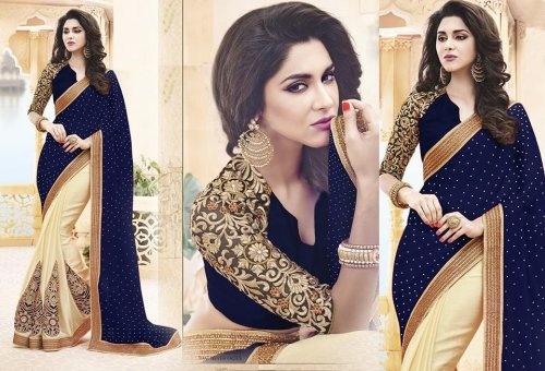 Weight Less Georgette saree SS-480 BLUE