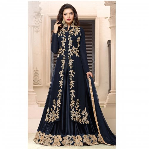 Royal Black Color Georgette Salwar With Semi Stitched Lehenga