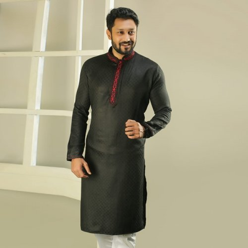 Men's Semi Long Panjabi - 01 - Black With Red Neck
