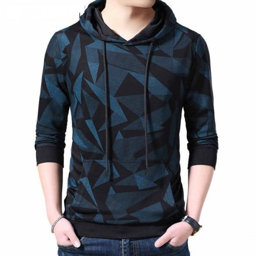 Blue Cotton Long Sleeve Hoodie For Men