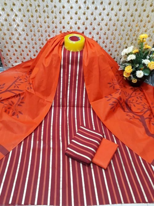 Latest Marron and Orange Skin Printed 3 pieces Salwar Kameez for Women