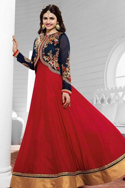 Admirable Maroon Coat Type Floor Length Anarkali LA-3934