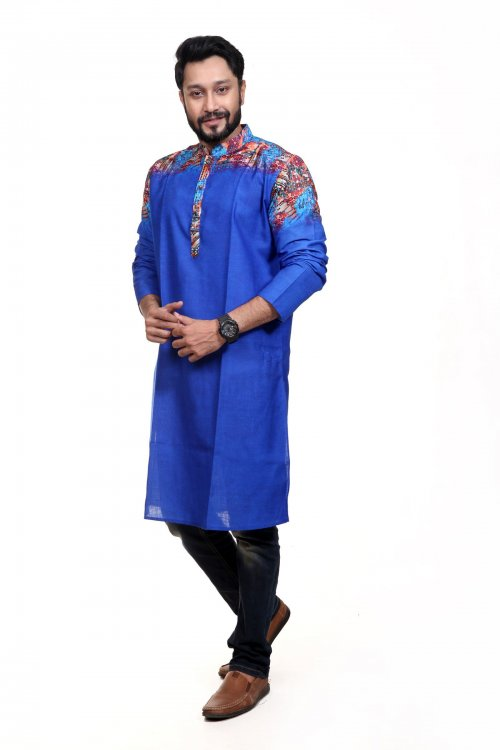 Indian Cotton Panjabi For Eid - Royal Blue And Solder Multi Color Design