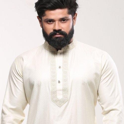 Men's Cotton Punjabi - Off White Embroidery