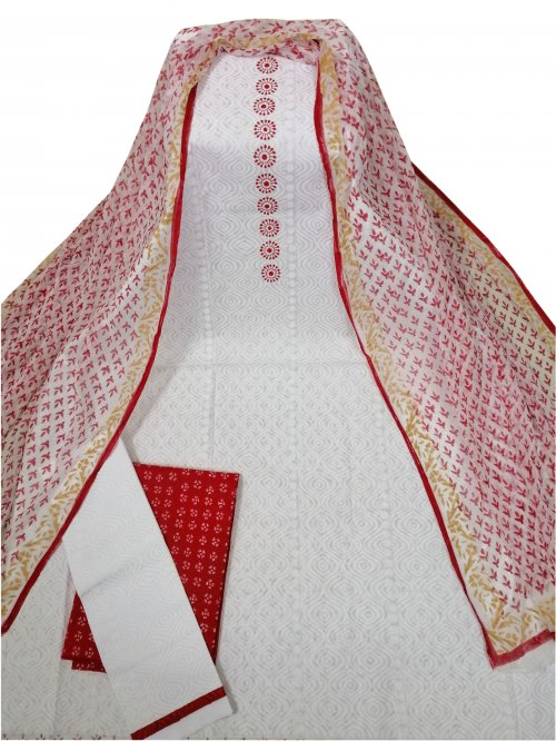 Latest White And Red Printed Salwar Kameez for Women-free size