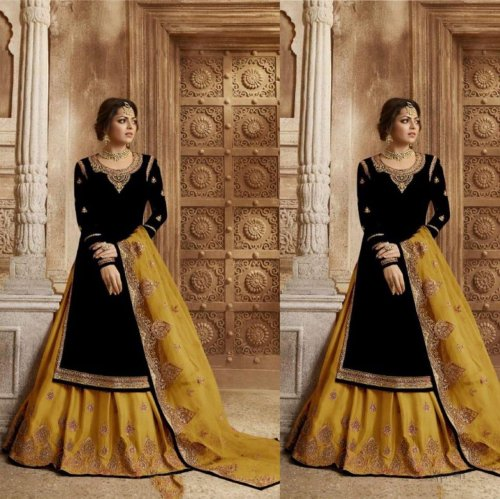 DRASHTI DHAMI GEORGETTE SATIN EMBROIDERED SHARARA SUIT