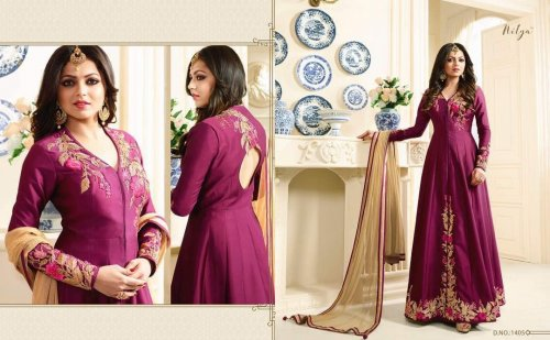 Megenta un-stitched georgette with embroidery salwar suit