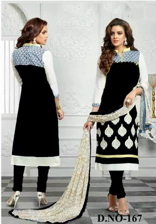 unstiched block printed cotton replica three pcs salwar kameez seblock-401