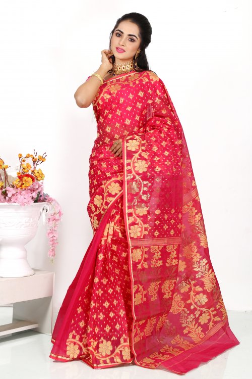 Silk Jamdani Saree for Woman